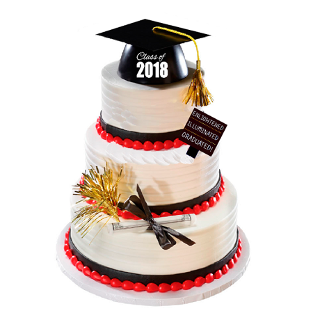 Enlightened Illuminated Graduation Class of 2018 Hat Cake Decoration Topper with Plaque Gold Mylar & Diploma