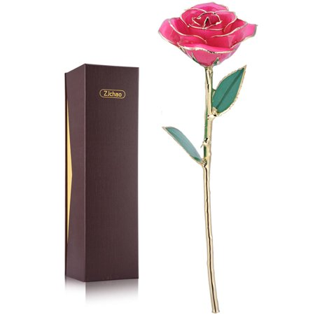 - Pink Gold Rose, Valentine's Gifts for Women ZJchao Gold Rose Love Forever Long Stem Dipped 24k Rose Foil Trim , Gifts for Her(Pink)