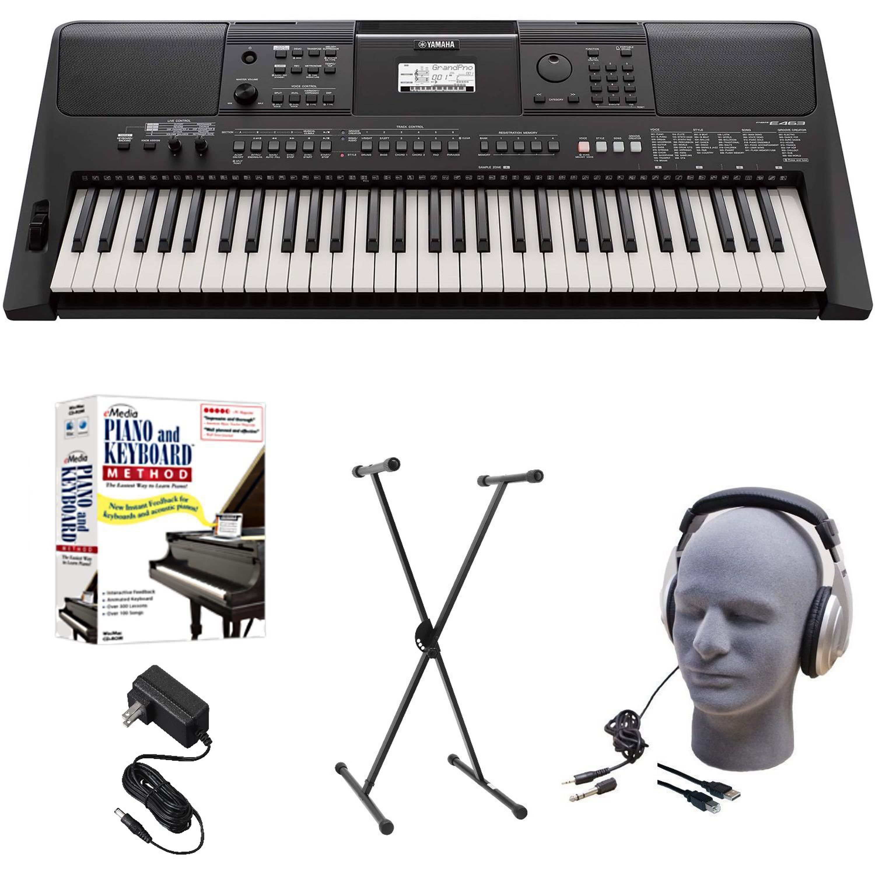 Yamaha PSR-E463 EPS Educational Keyboard Pack with Power Supply, X-Style Stand, Headphones, USB Cable, and Instructional Software