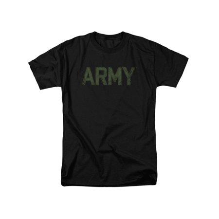 ARMY United States Army Classic Distressed Block Logo Black Adult - Army Logo Shirt