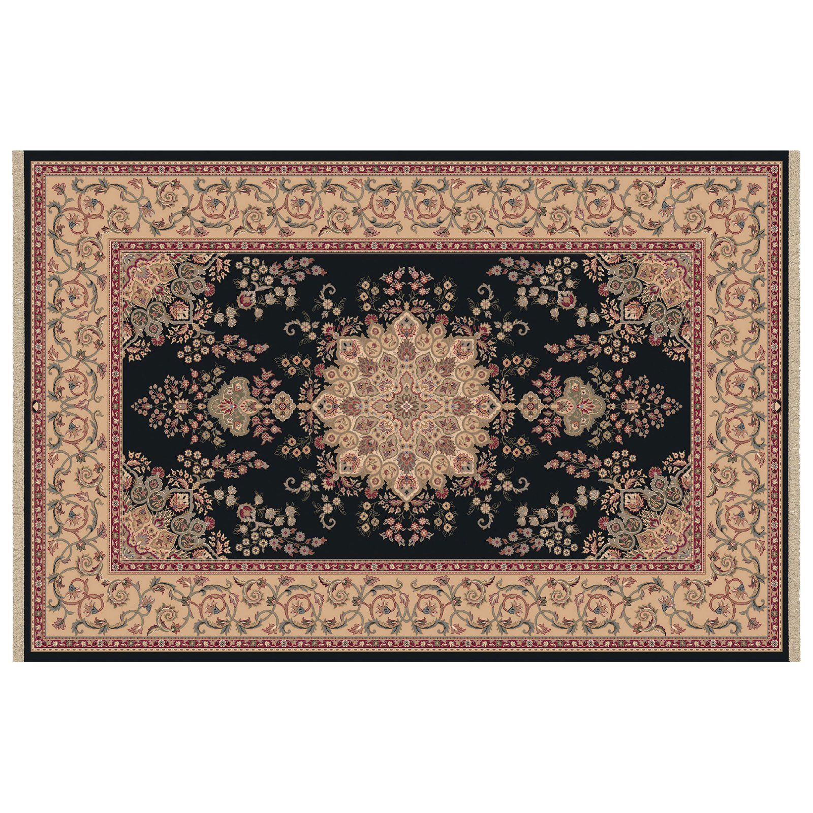 Dynamic Rugs Brilliant Collection Wool Hearth Rug-Black Kalei by Dynamic Rugs