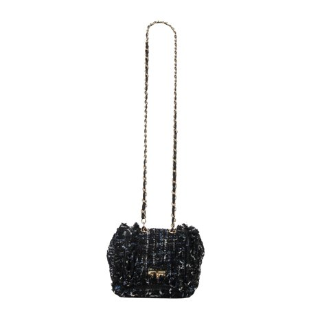 Diophy  Tweed Turn Lock Flap Cross Body Bag with Ruffled Decoration Flap Lock Bags