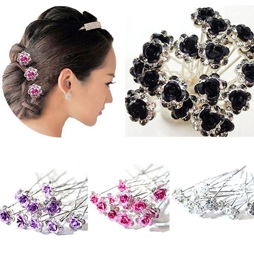 Moderna 5Pcs Chic Engagement Wedding Shiny Rhinestone Hair Clips Rose Flower Hairpins