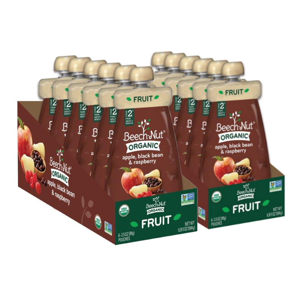 Beech-Nut Organic Stage 3 Apple, Black Bean & Raspberry Baby Food, 2 - 6pk Sleeves (12 Count)