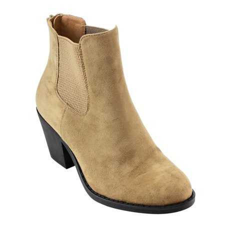 AD75 Women's Elastic Gusset back zipper Block Heel Ankle Booties