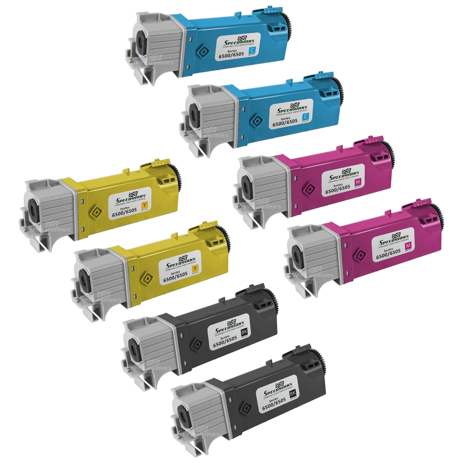 SpeedyInks - Compatible Xerox 6500 Set of 8 Toner Cartridges 106R01597 106R01596 106R01595 106R01594 for Phaser 6500, WorkCentre 6505 Printers: 2 Black, 2 Cyan, 2 Magenta, 2 Yellow