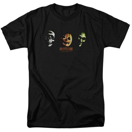 Halloween III Horror Slasher Movie Series Three Masks Adult T-Shirt Tee (Halloween Horror Nights Shirts)