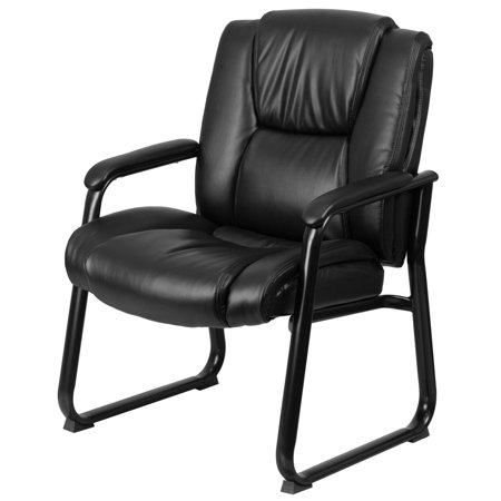 500 Base Unit - Flash Furniture HERCULES Series 500 lb Capacity Big and Tall Black Leather Executive Side Chair with Sled Base