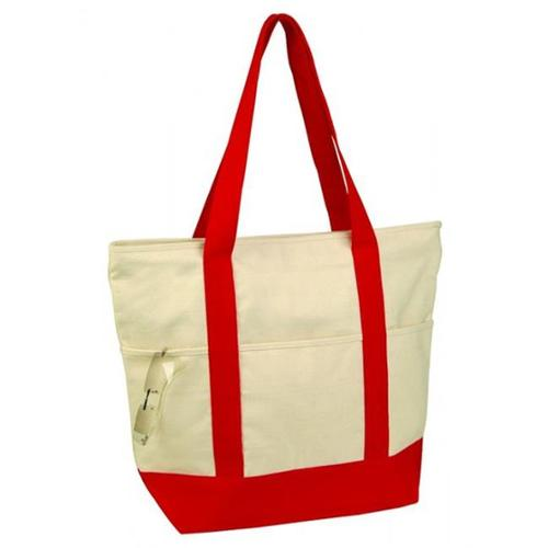 Bulk Buys 12 oz Cotton Deluxe Zipper Canvas Shopping Tote Ba - Case of 36