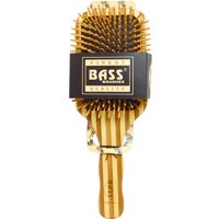 Bass Brushes  Large Square Paddle Brush  Cushion Wood Bristles with Stripped Bamboo Handle  1 Hair Brush
