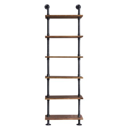 Florence Industrial Floating Silver Brushed Gray Pipe Wall Book Shelf with Walnut
