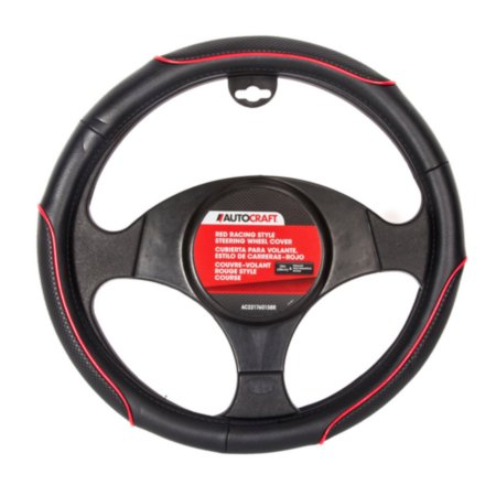 Autocraft Steering Wheel Cover, Racing Style, Red