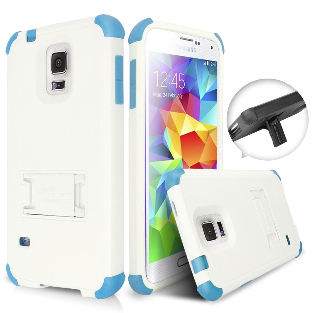 Samsung Galaxy S5 Case, Rugged Shockproof Hybrid Skin Hard Kickstand Case Cover For Samsung Galaxy S5 - Light Blue/White