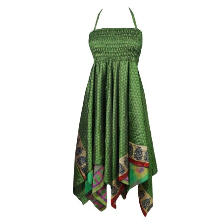 Mogul Womens Bohemian Halter Dress Handkerchief Hem Two Layer Printed Summer Fashion Gypsy Hippie Chic Resort - Hippy Dress