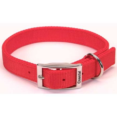 Nylon Double Layer Dog Collar Size  1  W X 20  D  Color  Red  C Nyl Double Layer Collar 1X20 Red By Coastal Pet