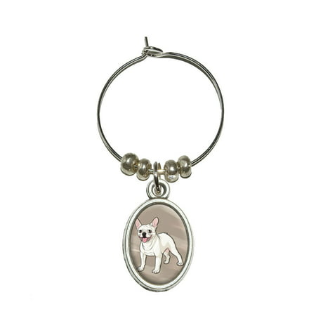- French Bulldog - Pet Dog Oval Wine Glass Charm