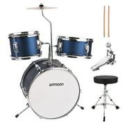 ammoon 14 inch 3-Piece Kids Drum Set with Adjustable Throne Cymbal Pedal Drumsticks Musical Instrument for Kids Children Junior Beginners