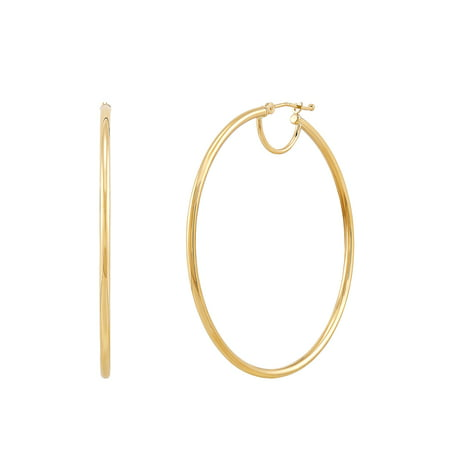 Brilliance Fine Jewelry 10K Yellow Gold Polished Round Tube Hoop Earrings with Bridge