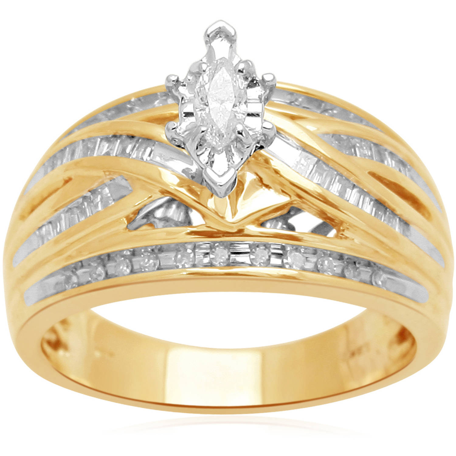 1 2 Carat T.W. Diamond 14kt Yellow Gold Bridal Ring by Generic