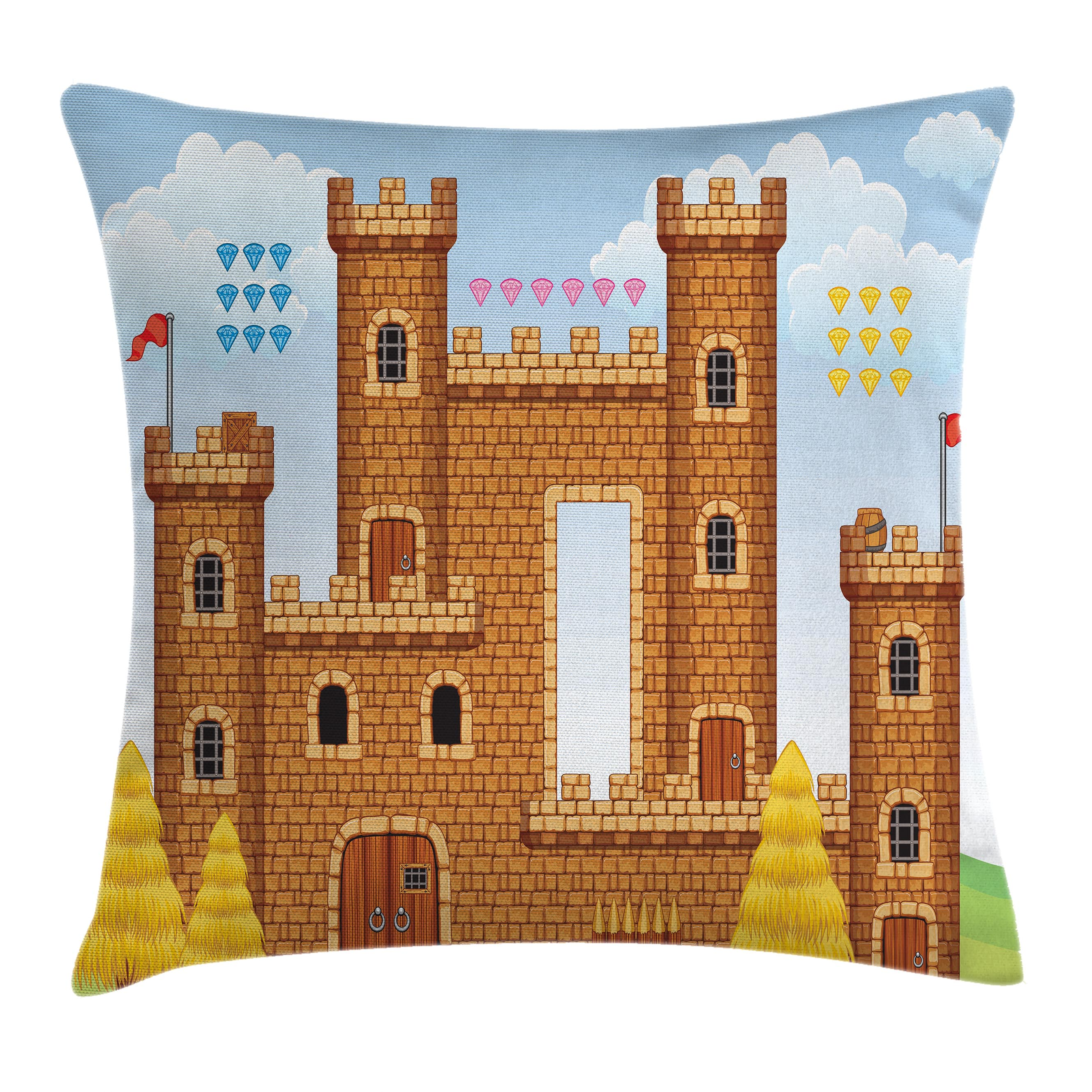 Children Throw Pillow Cushion Cover, Video Game Background with Castle Leisure Hobby Activity Kids Youth Design, Decorative Square Accent Pillow Case, 16 X 16 Inches, Light Caramel Blue, by Ambesonne