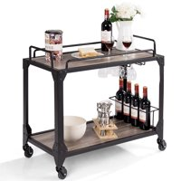 Costway 2 Tier Rolling Bar Serving Cart Wood Kitchen Island w/ Wine Holder&Glass Hanger