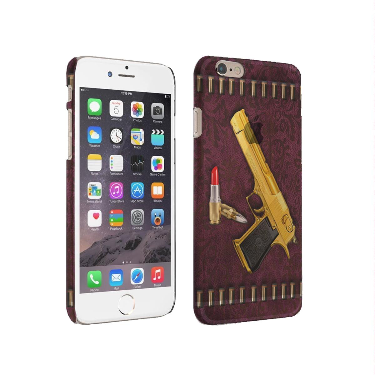 KuzmarK iPhone 6 Plus Rubber Cover Case - Designer Gold Gun