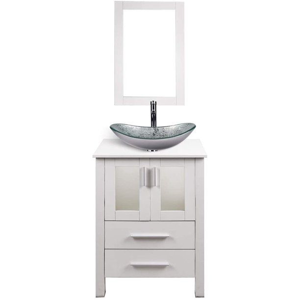 Elecwish 24 Inch Bathroom Vanity Modern Stand Pedestal Cabinet Mdf Wood White Fixture With Mirror Boat Glass Sink Combo Walmart Com Walmart Com