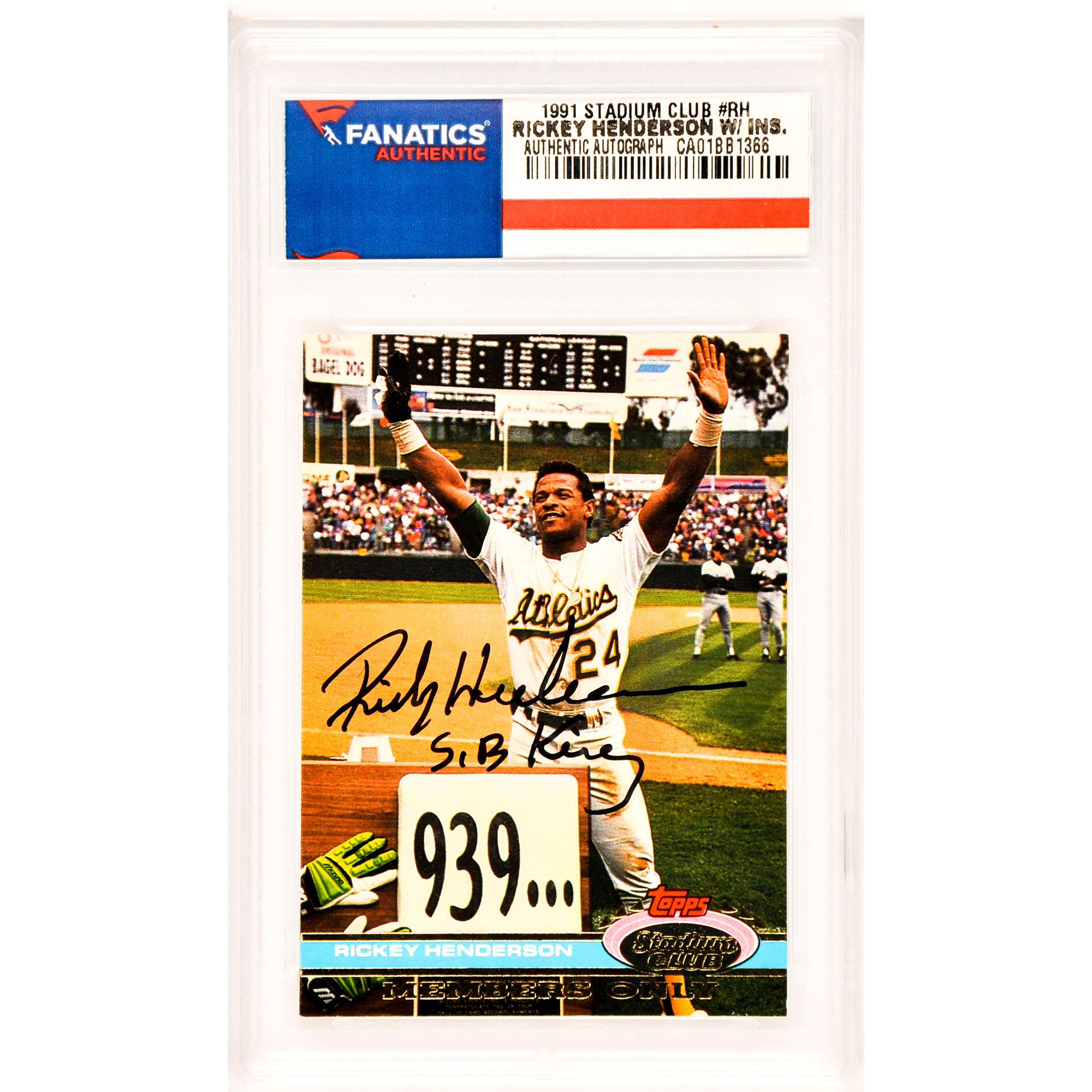 Rickey Henderson Oakland Athletics Fanatics Authentic Autographed 1991 Stadium Club SP #RH Card with SB King Inscription - No Size