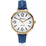 Women's Colored Leather Slender Strap Fashion Watch, White/Blue
