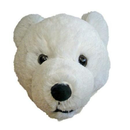 7-inch Polar Bear Head Plush Wall Mounting Stuffed Animal Toy