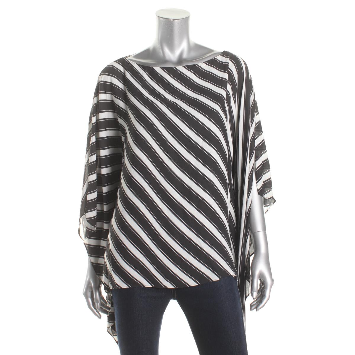 Vince Camuto Womens Chiffon Diagonal Stripe Poncho Top by Vince Camuto