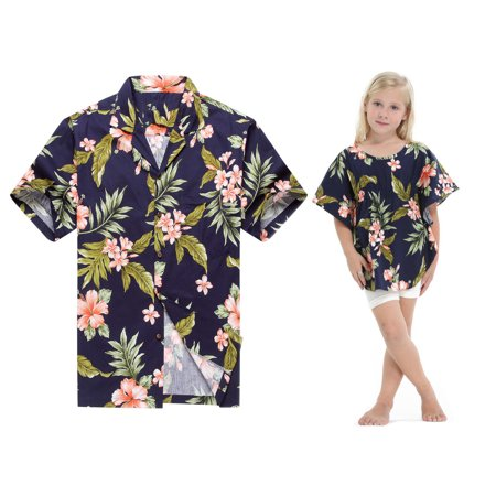 Made in Hawaii Matching Father Daughter Luau Shirt Girl Poncho Top in Navy with Pink Hibiscus 2XL-4