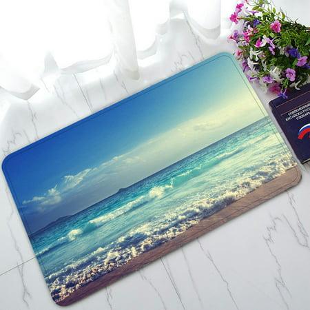 PHFZK Ocean Wave Doormat, Seychelles Beach in Sunset Time, Navy Blue White Doormat Outdoors/Indoor Doormat Home Floor Mats Rugs Size 30x18 inches