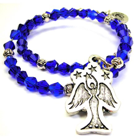 Crystal Star Charm Bracelet - Chubby Chico Charms Angel With Stars Bicone Crystal Wrap Bracelet in Sapphire Blue