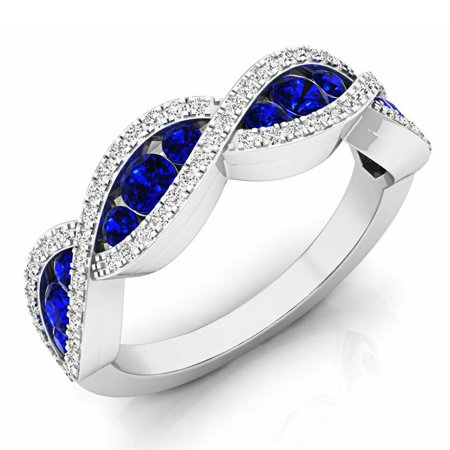 Dazzlingrock Collection 10K Round Blue Sapphire & White Diamond Bridal Anniversary Wedding Swirl Ring, White Gold, Size 9 ()