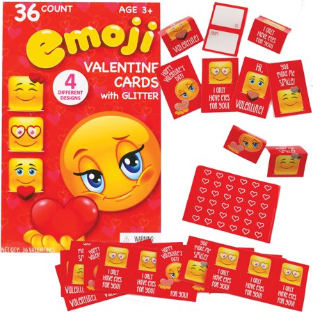 Glitter Emoji School Card Exchange Valentine S Day Cards 4 Red