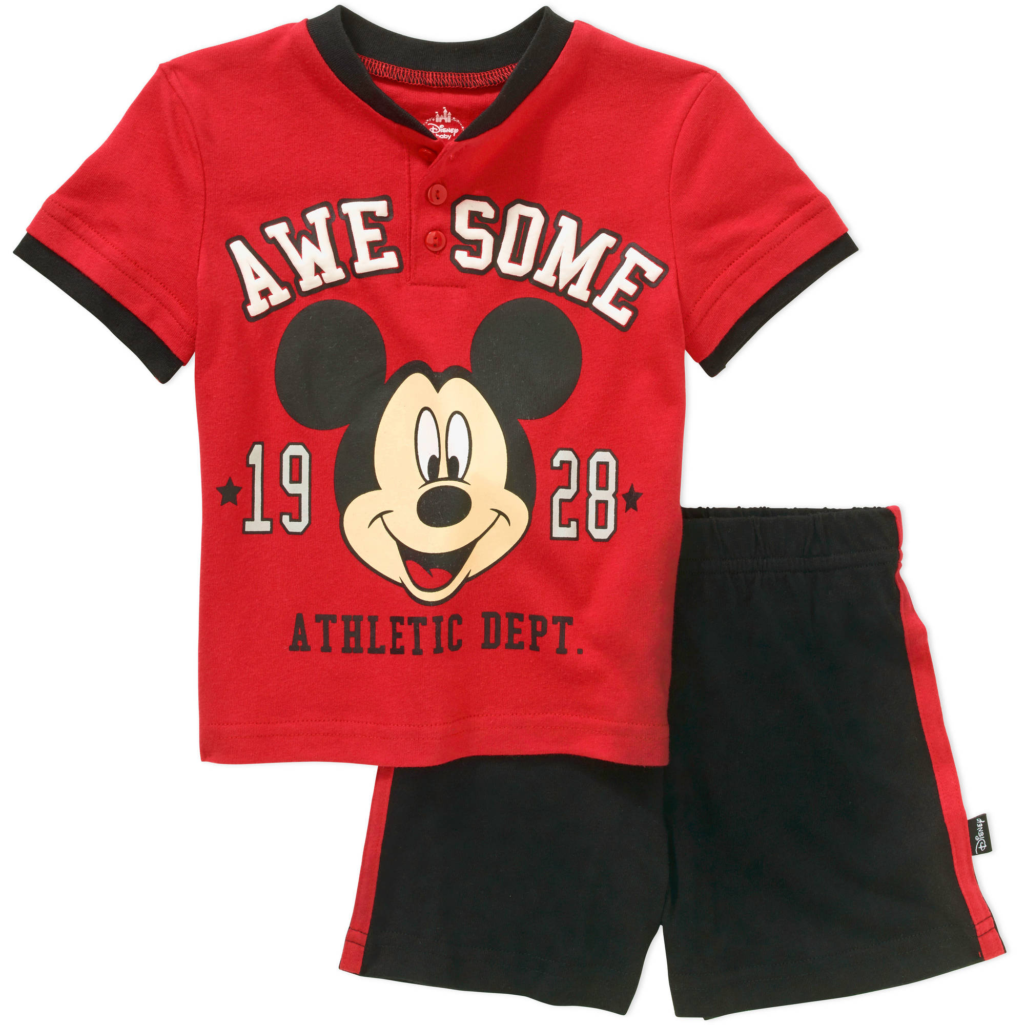 Mickey Mouse Newborn Baby Boys' License Knit Henley and Solid Short 2 Piece Set