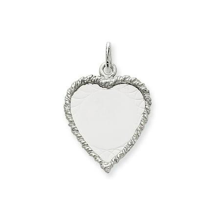 14K White Gold Etched Design .013 Gauge Engravable Heart Charm Pendant