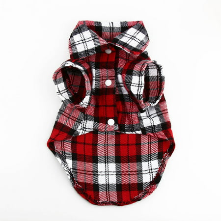 Small Pet Dog Puppy Plaid T Shirt Lapel Coat Cat Jacket Clothes Costume Tops