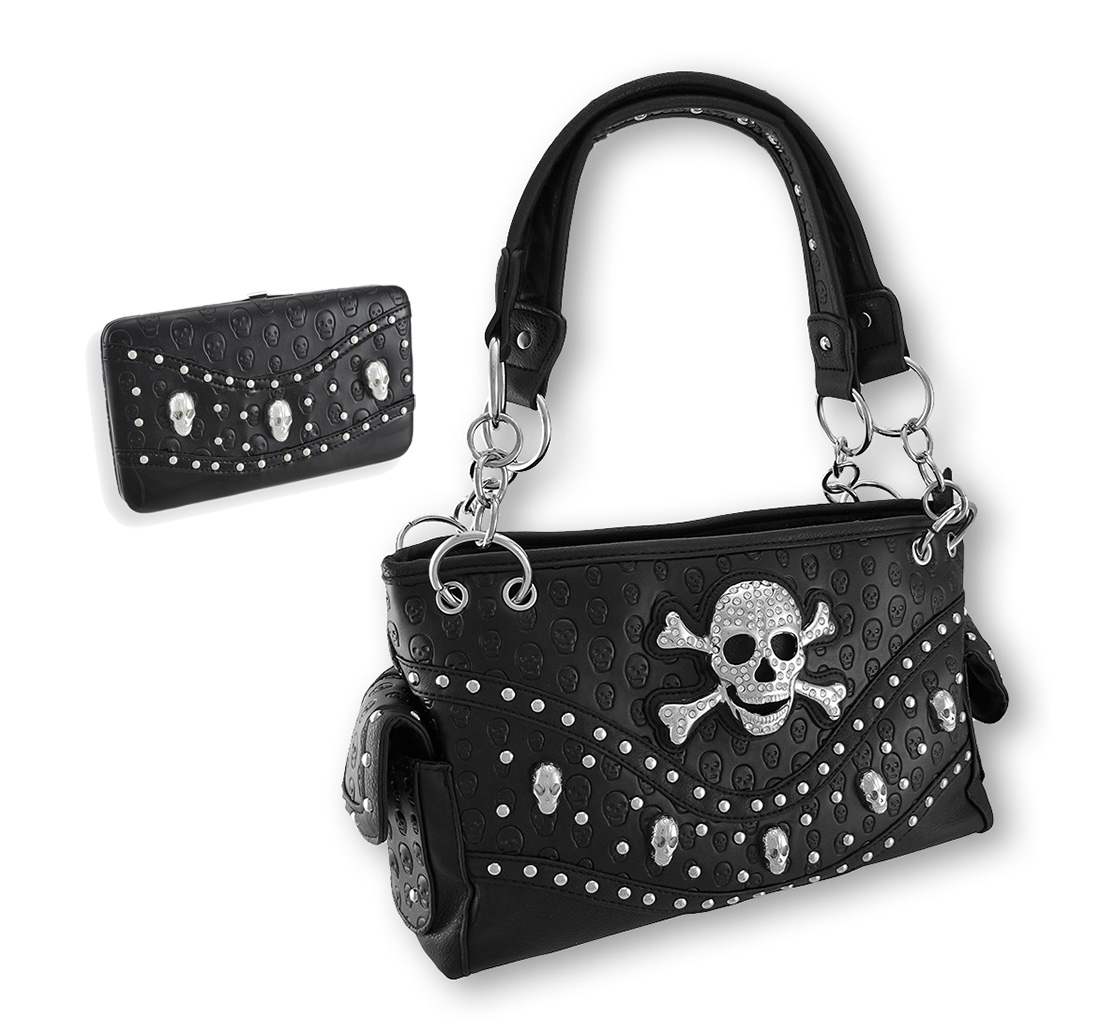 Studded Rhinestone Skull/Crossbones Concealed Carry Purse...