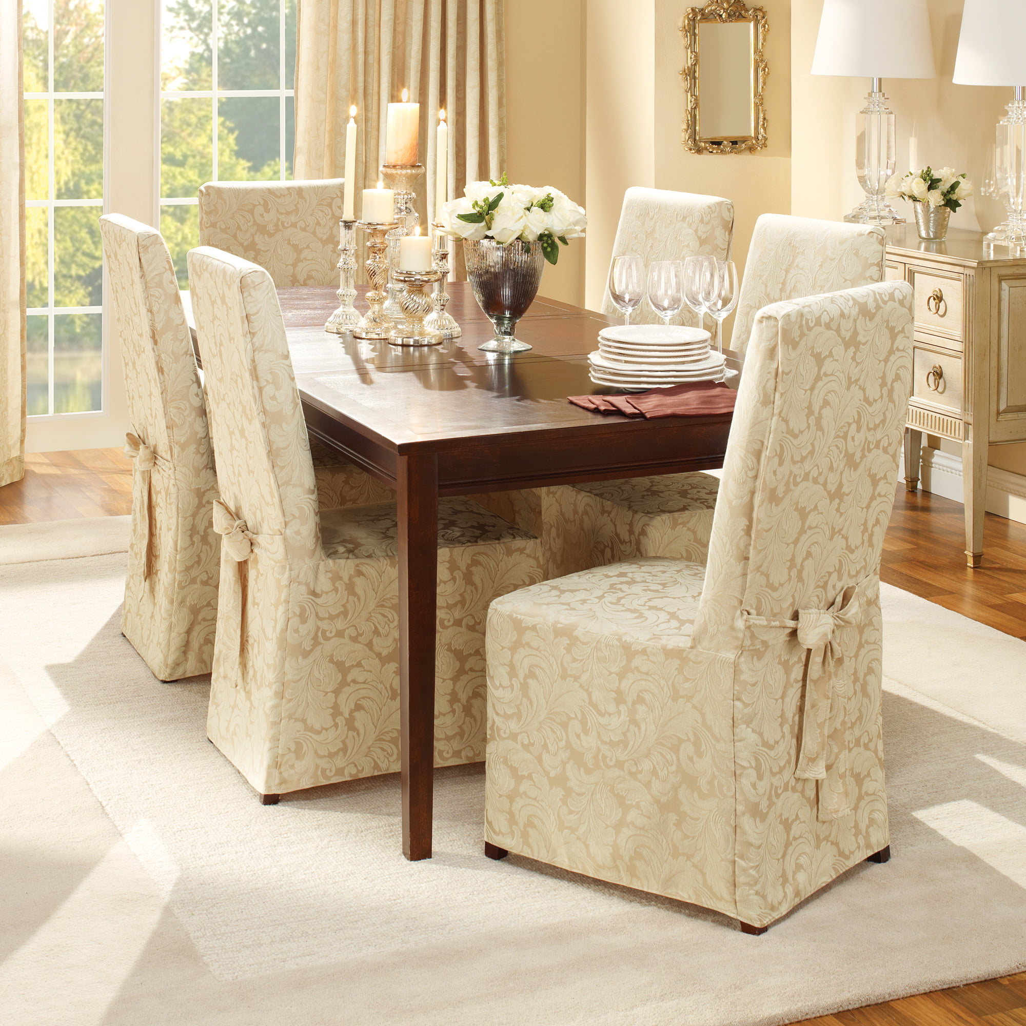 Sure Fit Scroll Full Length Skirt With, Surefit Round Back Dining Room Chair Slipcover