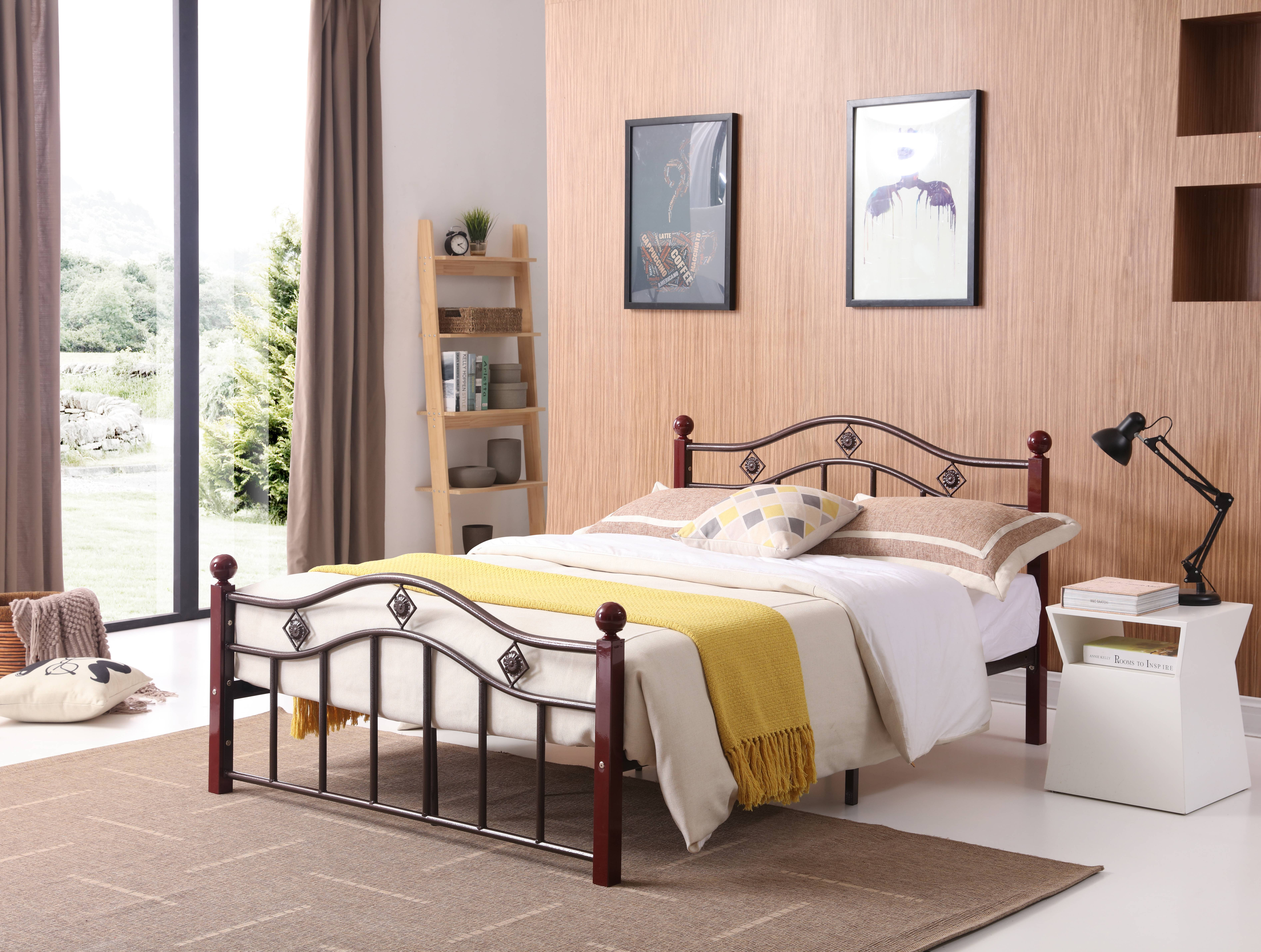 Hodedah Complete Bronze Metal Bed with Headboard, Footboard, Slats and Rails in Twin Size by Hodedah