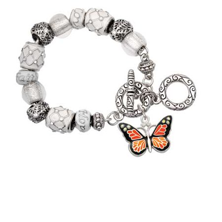 Silvertone Large Monarch Butterfly with 6 AB Crystals White Snowflake Bead Charm Bracelet