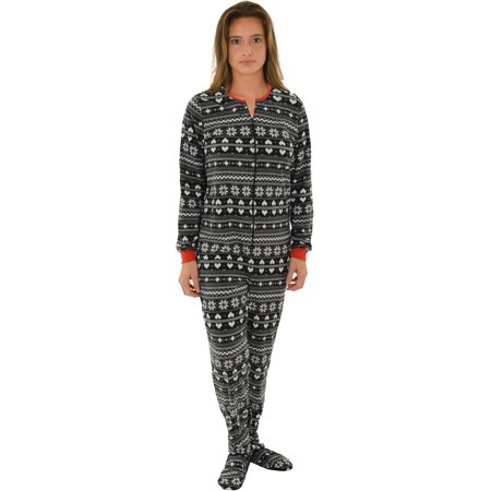 Wonder Woman Footie Pajamas For Adults (Womens Footed Pajamas Black white Onesie MicroFleece Snowflakes Heart)