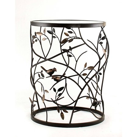 Large Bird And Branches Side Table With Glass Tabletop