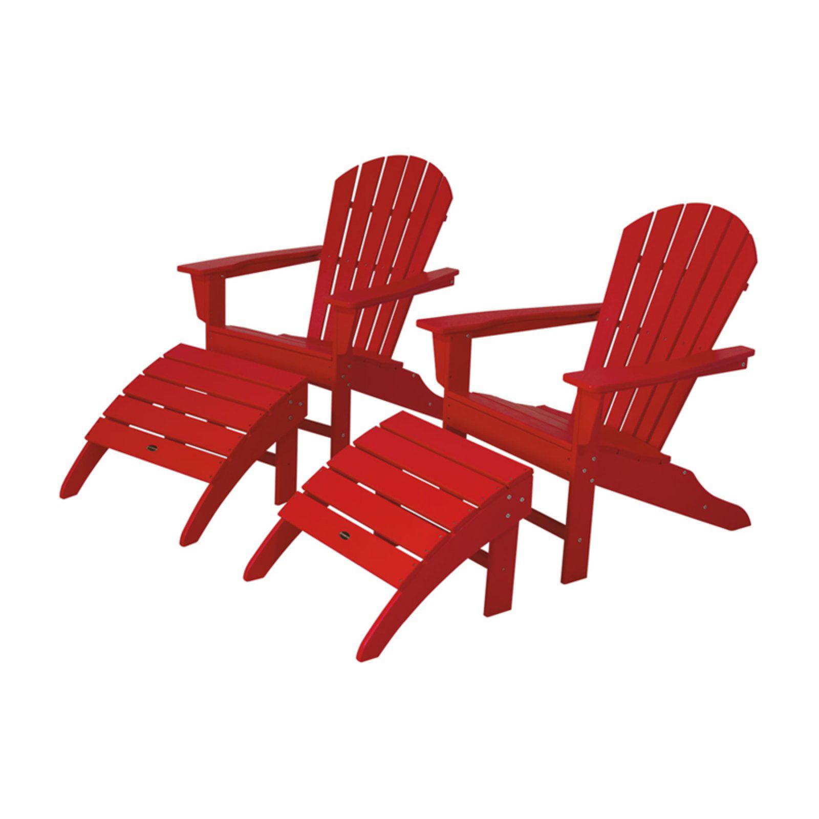 POLYWOOD® South Beach Recycled Plastic 4 pc. Adirondack Chair Set
