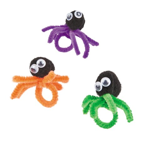 Fun Express - Spider Ring ck for Halloween - Craft Kits - Kids Jewelry Craft Kits - Misc Kids Jewelry Craft Kits - Halloween - 12 Pieces