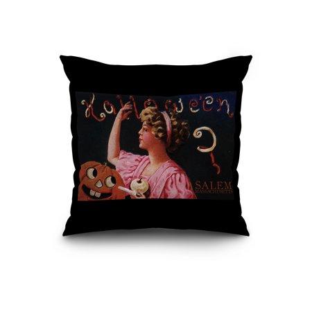 Salem, Massachusetts - Halloween Woman & Jack-O-Lantern - Vintage Postcard (20x20 Spun Polyester Pillow, Black Border)