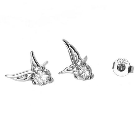 Ear Stud Earrings Angel Wing with Clear Rhinestone - Angel Wings Earrings