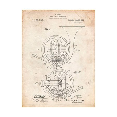 - French Horn Instrument Patent Print Wall Art By Cole Borders